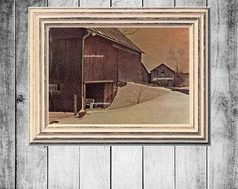 Kitchen Art, Guest Room Art, Office Art, Bedroom Art, Farm Art, Rustic Art Print Barn At Dusk Rustic Art Print  #369