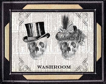 BATHROOM SIGN Skulls Victorian Steampunk skeleton gentleman and lady man woman washroom art print on vintage dictionary book page 8x10, 5x7