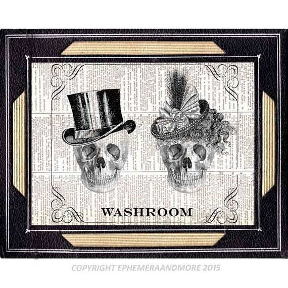 Bathroom sign skulls victorian steampunk skeleton goth gentleman lady man woman washroom art print poster wall decor on dictionary 8x10