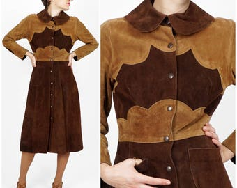 Vintage 1970s Fitted Brown & Tan Suede Leather Coat Dress with Scallop Detail and Peter Pan Collar by Bagatelle | X-Small/Small