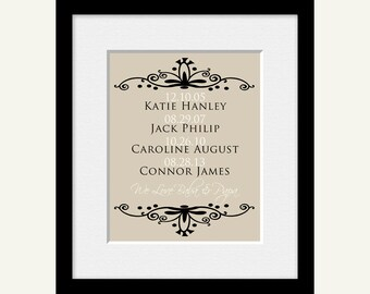 GRANDPARENTS WALL PRINT, Gift from Grandchildren, Grandchildrens Names and Birthdates Print, Grandparent Gift, Christmas Gift from Grandkids