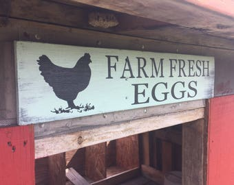 Farm Fresh Eggs Sign, Farmhouse Kitchen Egg sign, Chicken Coop Sign