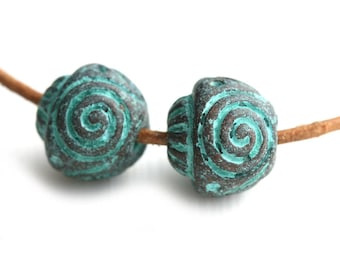 12mm Spiral round greek metal beads Green Patina on copper Carved Ornament beads Lead Free - 2Pc - F177