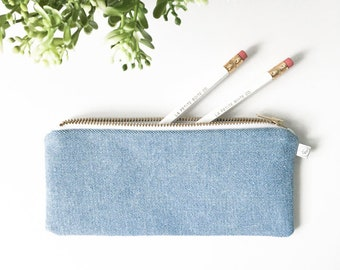 "PENCIL POUCH / clutch bag, make-up bag, pencil case / blue denim / 3.5""x8"" / gold zip / la petite boite / handmade in quebec"