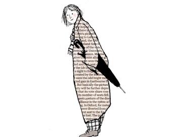 PARAGUAS SEÑORA encantadora tentativa señora bohemio con un paraguas. Tarjeta impresa de una obra de arte original con periódico y pluma y tinta