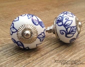 "SET OF 2 - 1.75"" Blue and White and Silver Floral Ceramic Knob - Flower Drawer Pull - Cabinet Kitchen Decor Cobalt Royal Mediterranean"