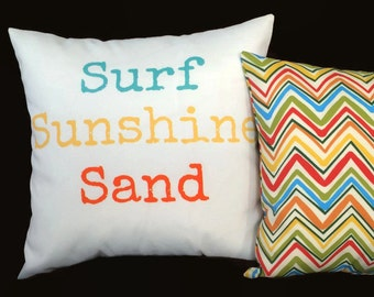 Sale - SURF SUNSHINE SAND Outdoor Coastal Throw Pillow Cushion Cover Beach Script Sayings Pillow, Blue Yellow Orange, 17X17 Pillow