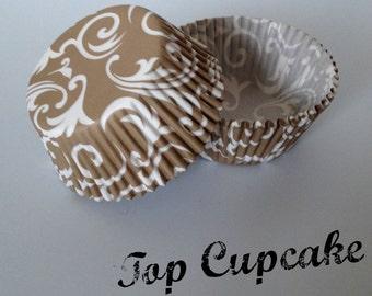 Gold Damask Scroll Cupcake Liners