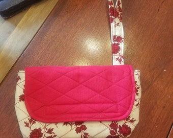 Quilted Floral Clutch Bag