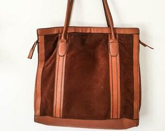Leather handbag - Brown Leather & suede purse - Women's top handle leather purse - Burnt orange  brown leather shoulder bag -Leather handbag