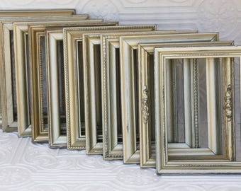 Champagne Gold Picture Frame Set of Six 2- 8x10 4-5x7  Hand Painted & Distressed