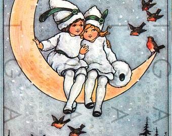 SNOW FAIRIES In The Crescent Moon. Art Deco Fairy Illustration. Adorable Fairy Print. Digital Fairy Download. Winter Fairy Tale.