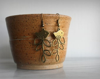Bird Branch Earrings, Antique Bronze, Vintage inspired, Womens Jewelry, Gift for her, by ktnunna