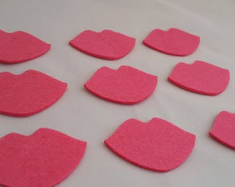 Felt crafts Felt Lips wool felt for craft and embellishment perfect shape thick lips for use any crafting pink  photo props felt craft 25PC