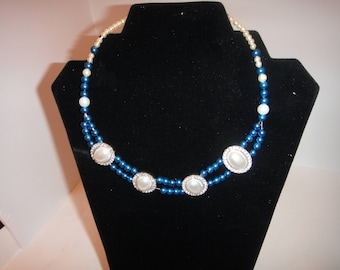 Pearl Blue and White Choker-Necklace