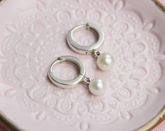 Silver Hoop and Pearl Drop Earrings
