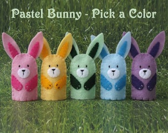Pastel Bunny Finger Puppet -  Easter Bunny - Pastel Bunny Pink Yellow Green Blue Purple Bunny Rabbit Puppet