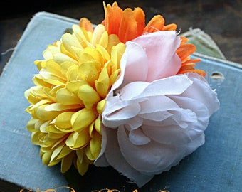 Sun Beam Fairy Cluster Hair Clip Fascinator - Vegan, ATS, Tribal Belly Dance, Garden, Rose, Daisy, Mum, Yellow, Orange, White