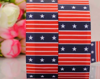 "Red White and Blue 7/8"" Printed Ribbon, Stars and Stripes Ribbon, 4th July Ribbon"