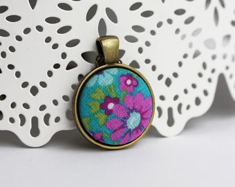 Tiny Flower Pendant With Fabric, Colorful, Cute Necklace, Floral Jewelry, Teal, Pink, Magenta, Domed, Round, Circle, Small Pendant
