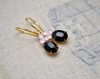 Pink & Black Earrings, Black Evening Earrings, Sophisticated Black Jewelry, Classy Earrings, Vintage Rhinestone Drop Earrings, Gift for Her
