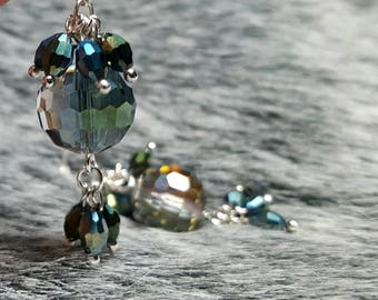 Round Crystal Dangle Earrings with accent crystal beading