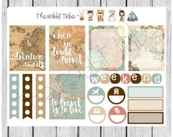 Weekly sticker set - travel, maps, adventure - planner stickers