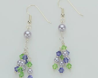 Lavender Pearl Earrings, Tanzanite & Peridot Crystals, Sterling Silver, Gift for her