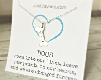 Dog Bone Necklace, personalized with dog name for the pet lover, dog necklace, remembering a pet, dog jewelry, commemorate a pet, pet loss