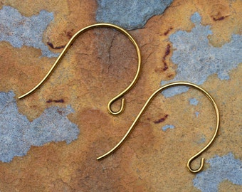 6 Antique Gold Plated Earwire  26x18mm -  Nunn Designs - Low Shipping