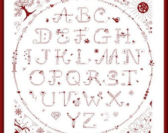ABC Circle – cross stitch chart to work in monochrome. Cross Stitch and Back Stitch. Alphabet Sampler. Hand dyed thread. Seasons. Circle.