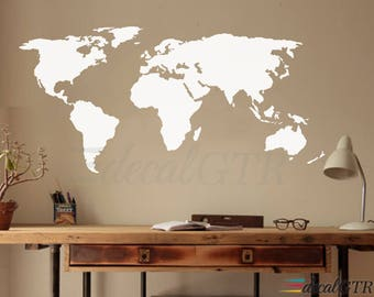 World map decal etsy world map decal wall decal matt vinyl or dry erase or chalkboard wall art gumiabroncs Images
