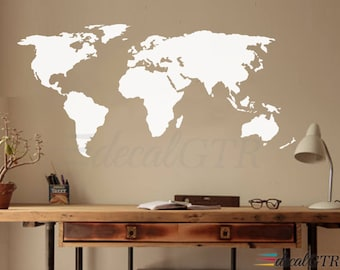 World map decal etsy world map decal wall decal matt vinyl or dry erase or chalkboard wall art gumiabroncs Choice Image