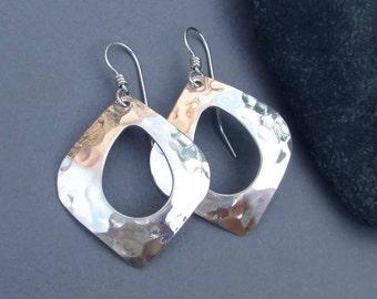 Hammered Sterling Silver Dangle Earrings Abstract Teardrop Hoop Earrings Textured Metal Earrings Artisan Handmade Modern Jewelry