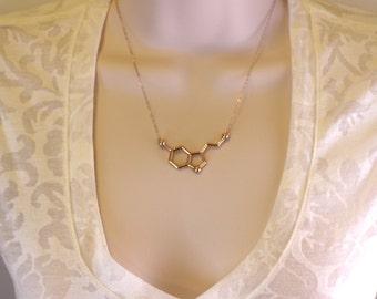 Rose Gold Serotonin Molecule Necklace, Chemistry Necklace, Hormone Serotonin, Biochemistry Molecule Happiness Signal Biology