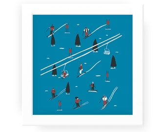 Skiers illustrated winter print - winter sports skiing holiday skiing print skiing art winter art winter print ski print ski art