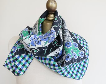 1940s- 50s vintage silk scarf, blue green scarf, pictorial silk scarf, floral square scarf, check scarves, blue green black, mid century