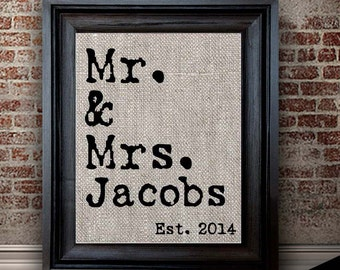 Newly Married | Newly Engaged | Gift for Couples | 2nd Anniversary Gift for Husband | Mr. and Mrs. Print | Cotton Anniversary Gift for Him