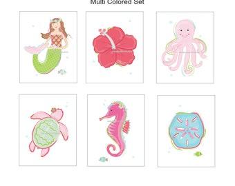 Mermaid Art, Mermaid art prints, Wall Decor, For Mermaid Bedding or Bath Decor, Big Girl Room Decor, Choose your set size