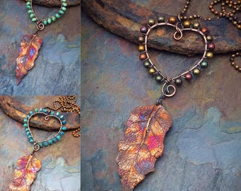 Iridescent Copper Leaf, and Copper Wire Wrapped Heart, Your Color Choice,Free USA Shipping, Award Winning Design