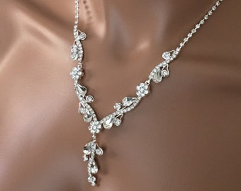 Bridal jewelry set,  Crystal Necklace with Earring, wedding jewelry set, Bridesmaid Crystal Jewelry Set