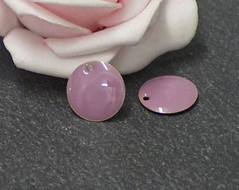 x 2 round sequins glazed 12 mm lilac color SEQ03