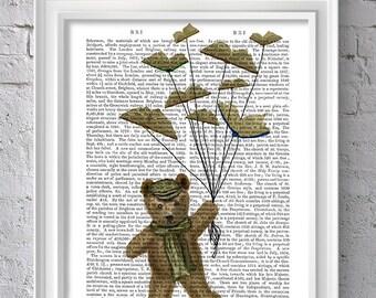 book art print - Bear & Book Butterflies - book nook decor book nerd Book Decor book gift book theme book lover gift cute gift for friend