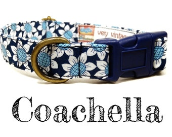 "Vintage Inspired Collar - Floral Blue Daisy Dog Collar - Girl Dog Collar - Bohemian Dog Collar - Antique Metal Hardware - ""Coachella"""