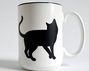 Single Cat Mug - 15 oz Cat and Paw Mug for Cat Lovers, Black Cats, Cat Lover Gift, Mug Gift Set, Black Cat Mug, Coffee Mug, Cat theme gift