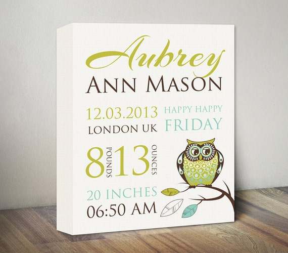 Owl birth announcement canvas art new baby gifts baby print like this item negle Gallery