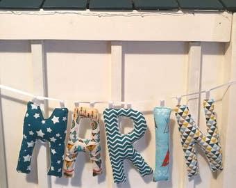 Stuffed letters, decorative letters, nursery decor letters, colour letters, personal name letters, unique letters, fabric letters