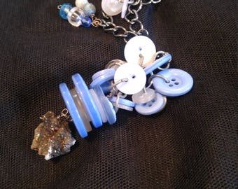 Winter Sky Button Necklace