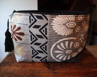 African fabric clutch, lined polka dots