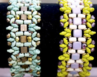 Anita - DIY tutorial, bracelet with Czech Mate Tile, Rulla, Super Duo and O-beads
